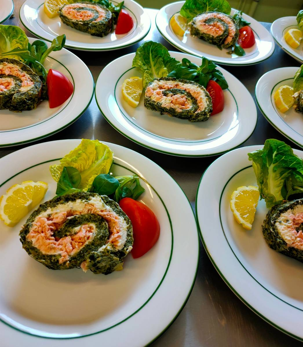 Roulé au saumon et épinards