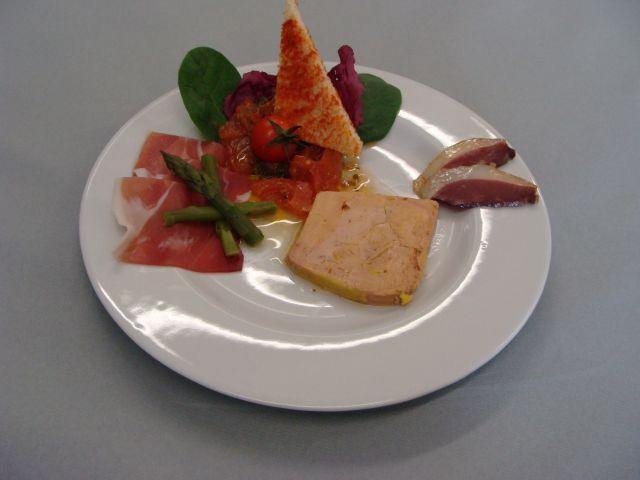 Trio du terroir, foie gras, magret fumé et jambon de bayonne